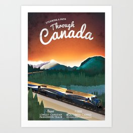 Vintage Steam Locomotive in Canada Poster Art Print