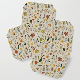 Colorful Plants and Herbs Pattern Coaster