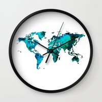 world maps Wall Clocks featuring maps by StraySheep