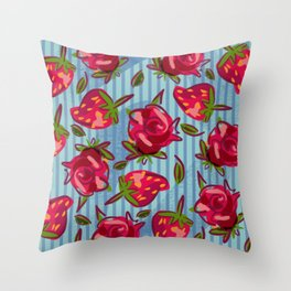 strippy roses and strawberries Throw Pillow