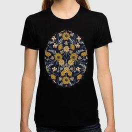Navy Blue, Turquoise, Cream & Mustard Yellow Dark Floral Pattern T-shirt