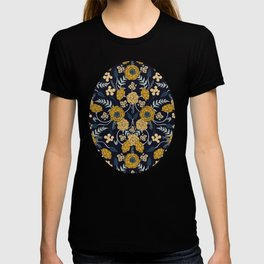 Navy Blue, Turquoise, Cream & Mustard Yellow Dark Floral Pattern T-shirt