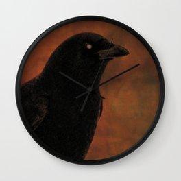 Crow Portrait In Black And Orange Wall Clock
