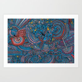 Drawing Meditation - Blue Art Print