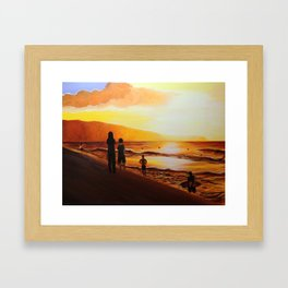 Pipeline Golden Sunset - Hawaii Framed Art Print