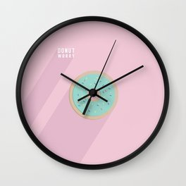 Donut Worry by Maisie Cross Wall Clock