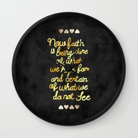 faith Wall Clocks featuring Faith  by Perrin Le Feuvre