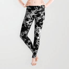 Peppered - Abstract, black and white paint splats Leggings