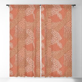 Brush Strokes Abstract Pattern, Brick with Coral and Tan Blackout Curtain
