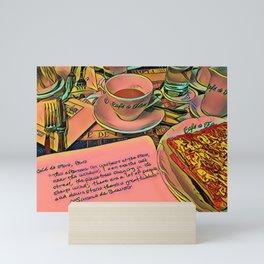 Simone de Beauvoir, Coffee, and a Croque Monsieur at the Cafe de Flore Mini Art Print