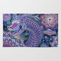garfield Area & Throw Rugs featuring Chinese Dragon - Every Day Is A New Year by The Visionary Art of Michael Garfield