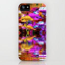 PURPLE-WHITE IRIS  WATER GARDEN  REFLECTION iPhone Case