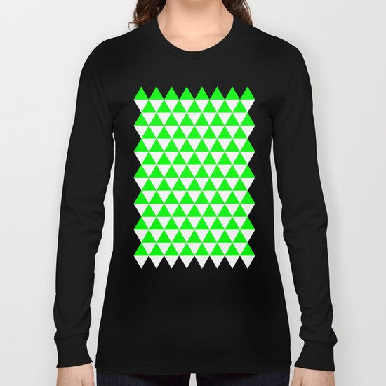 Triangles (Green/White) Long Sleeve T-shirt
