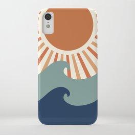Retro, Sun and Wave Art, Blue and Orange iPhone Case