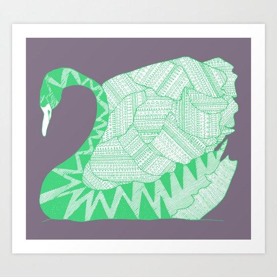Aztek Swan Art Print