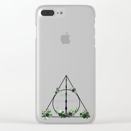 Deathly Hallows in Green and Gray Clear iPhone Case