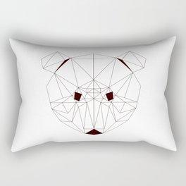 Minimalist Geometric Black Line Art Scandinavian Style Bear Drawing Rectangular Pillow