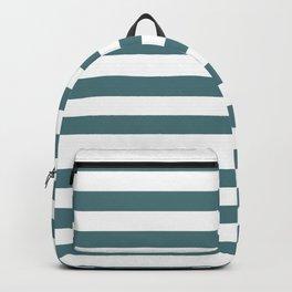 Beetle Green and White Horizontal Beach Hut Stripes Backpack