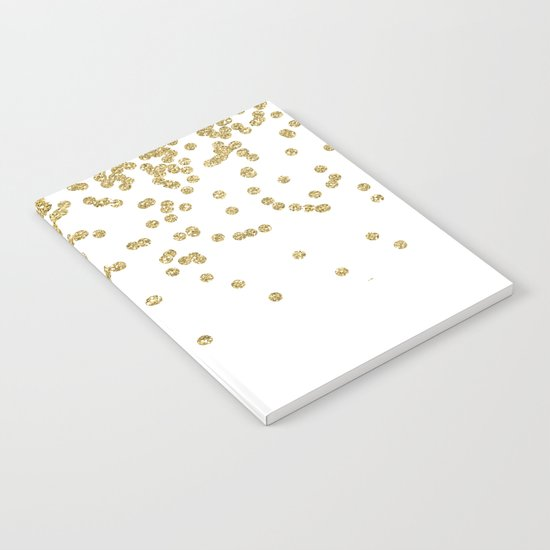 Sparkling golden glitter confetti - Luxury design Notebook