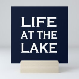 Life At The Lake - Navy Blue and White Mini Art Print