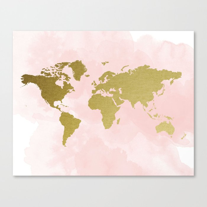 Gold World Map Poster Canvas Print By Peachandgold Society6