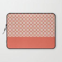 Pantone Cannoli Cream Square Petal Pattern on Pantone Living Coral Laptop Sleeve