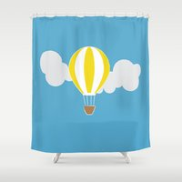hot air balloon Shower Curtains featuring Hot Air Balloon Illustration by Rachel J