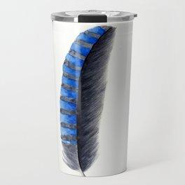 Blue & Green Feathers Travel Mug