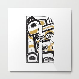 Northwest Pacific Coast American Native Totem Letter R Metal Print