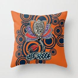 Madhubani - Lotus Fish 1 Throw Pillow