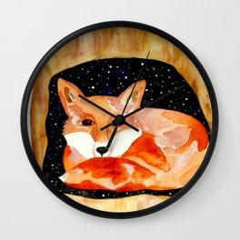 Sleepy Red Fox Wall Clock