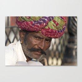 Portrait of Rajasthani Man, India Canvas Print
