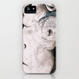 Rotten Apple: Turquoise (nude topless girl, erotic graffiti portrait) iPhone Case