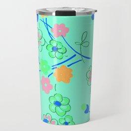 Fashion Textail Floral Print Design, Flower Allover Pattern Travel Mug