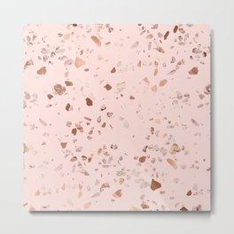 Rose Gold Pink Terrazzo Metal Print