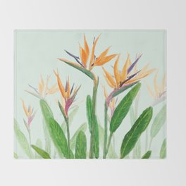 bird of paradise flower painting Throw Blanket