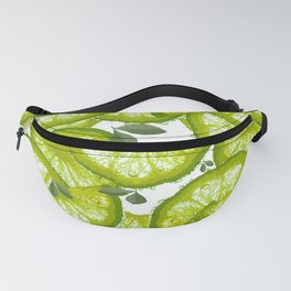 Lime Slices and Green Leaves on White Background  #decor #society6 #buyart Fanny Pack