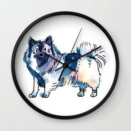 Winter - Dog Watercolour Wall Clock