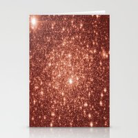 rose gold Stationery Cards featuring rose gold stars by GalaxyDreams