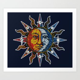 Celestial Mosaic Sun and Moon Art Print