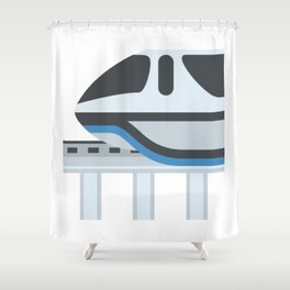 Monorail Train Emoji Shower Curtain