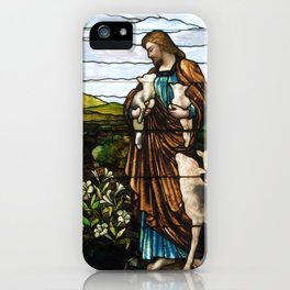 Jesus the Good Shepherd (Tiffany stained glass window at DePaul) iPhone Case