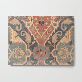 Geometric Leaves IV // 18th Century Distressed Red Blue Green Colorful Ornate Accent Rug Pattern Metal Print