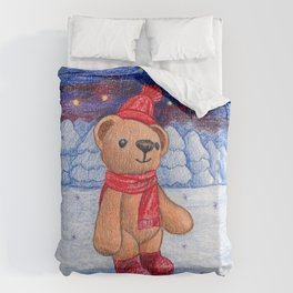 bear with sock cap Duvet Cover