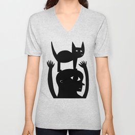 Cat On My Head Unisex V-Neck