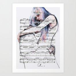 Waiting Place on sheet music Art Print