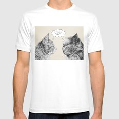 Cat Confusion Mens Fitted Tee White SMALL