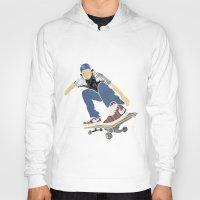 skateboard Hoodies featuring Skateboard 1 by Aquamarine Studio