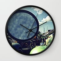 volkswagen Wall Clocks featuring volkswagen turtle car by gzm_guvenc
