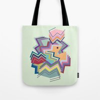 pacman Tote Bags featuring pacman by carolinegeys